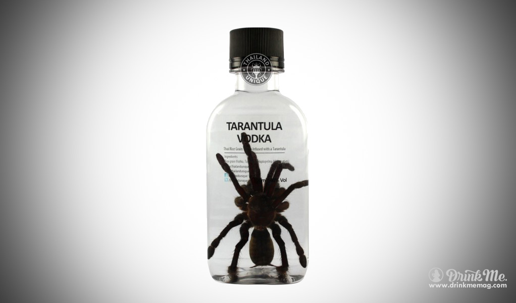 Spider tarantula Vodka drinkmemag.com drink me insects in drinks weird alcohol