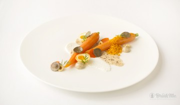 Restaurant Coworth Park - Salted baked carrot, goat's curd, hazelhuts and truffle image 2 drinkmemag.com drink me Coworth Park Wine Dinners