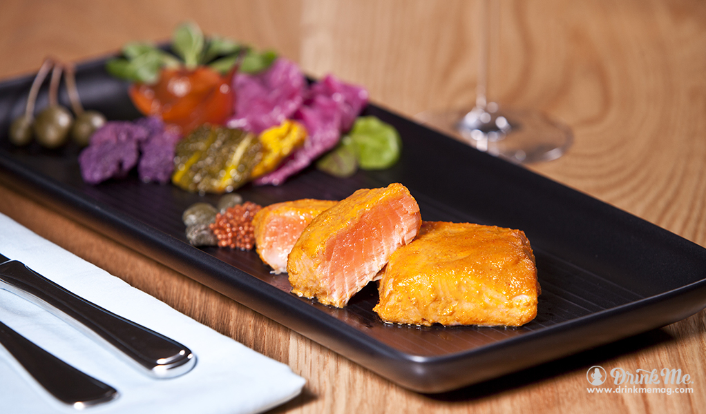 Eugene Sokolovski Citrus Salmon with Homemade Pickles with Cutlery drinkmemag.com drink me Matua Campaign