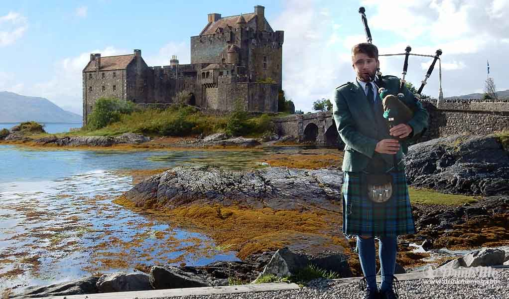 Step One Bagpipes Piper at Eilean Donan Castle, Scotland drinkmemag.com drink me Burns Night