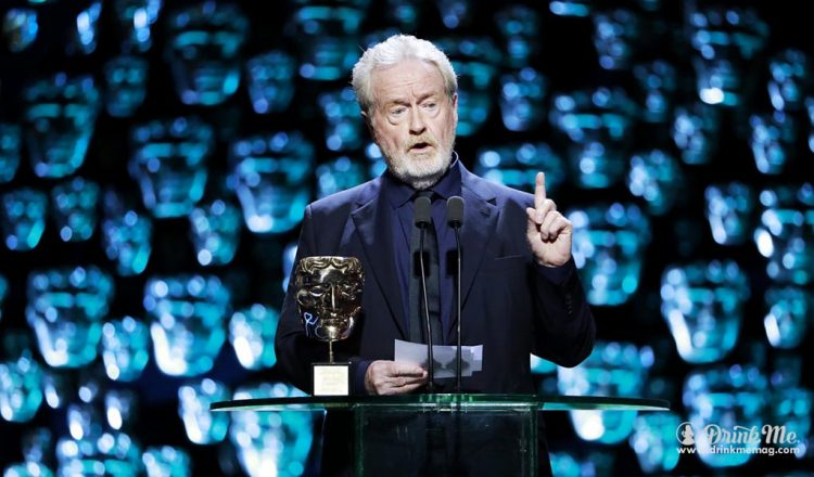 Ridley Scott accepting his BAFTA Fellowship Award Photo Credit BAFTA drinkmemag.com drink me Champagne Taittinger, and Villa Maria BAFTA